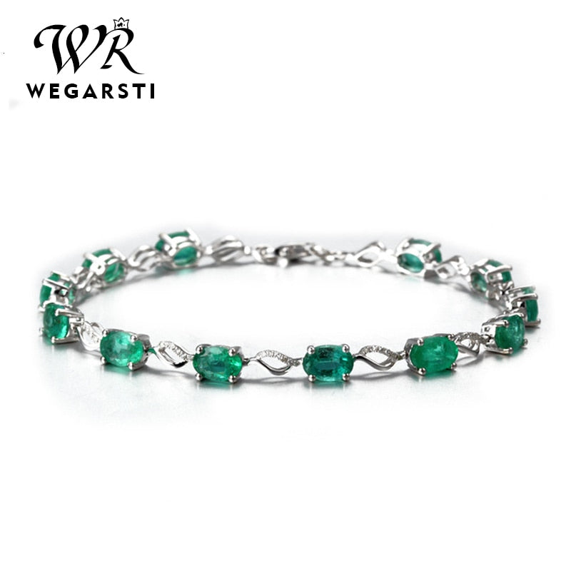 Silver 925 Jewelry Emerald Gemstone Bracelets For Women Luxury Women Emerald 925 Sterling Silver Jewellery Weddings