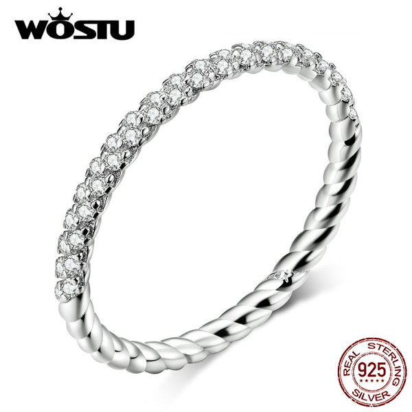 WOSTU 100% Real 925 Sterling Silver Simple Rings For Women Hot Sale Sparkling Zircon Rings Making Fashion Jewelry CQR624
