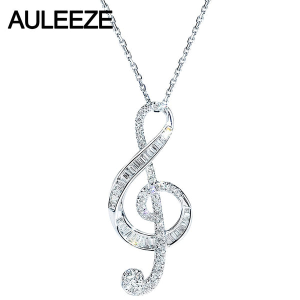 AULEEZE 18K White Gold Real Diamond Pendant Musical Note Design Intellectual Girl Elegance Diamond Necklace