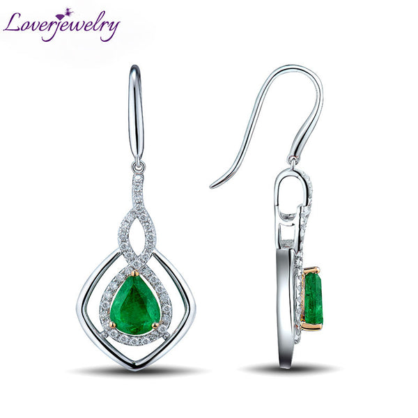 LOVERJEWELRY Dangle Earrings Pear 6x8mm Genuine Gemstone Solid 14k White Gold Diamonds Emerald Engagement Earrings For Women