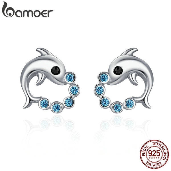 BAMOER Genuine 925 Sterling Silver Cute Dolphin Love Ball Animal Stud Earrings for Women Sterling Silver Jewelry Bijoux SCE179