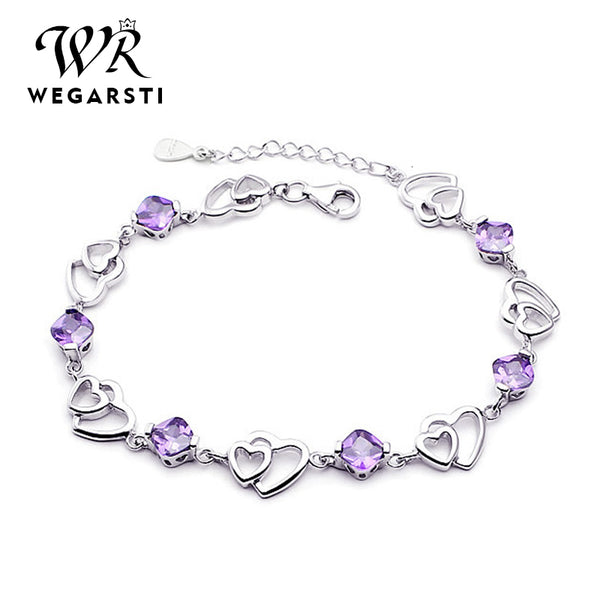 Silver 925 Jewelry Elegant Bracelet Jewelry 925 Sterling Silver Natural Purple Amethyst Love Heart Cute Women Bracelet