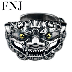 FNJ 925 Silver Animal Ring Tao Ti New Fashion Original S925 Sterling Silver Rings for Men Jewelry Adjustable Size USA 9-12.5