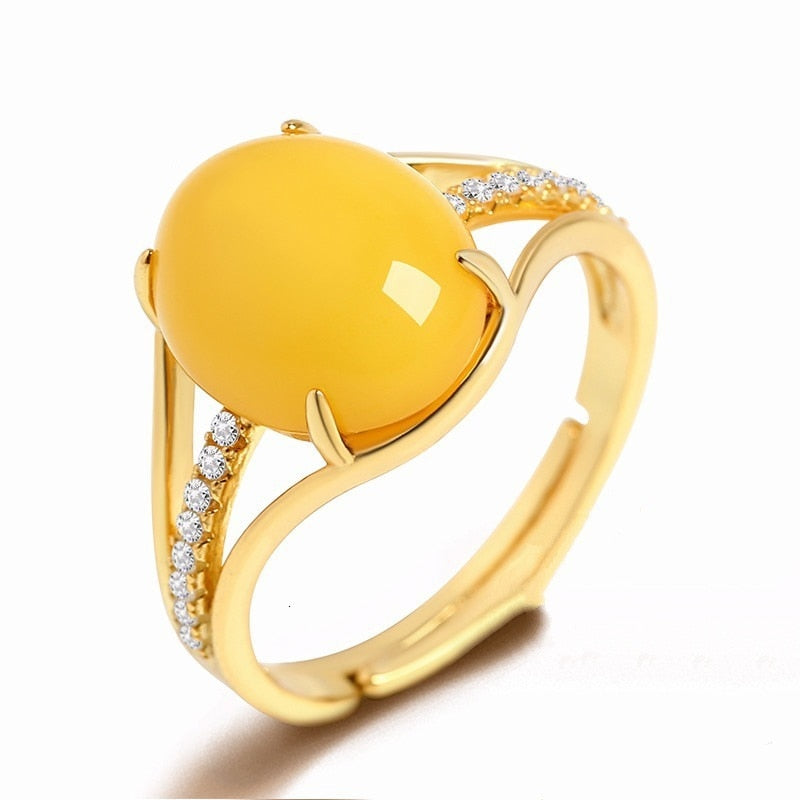 Silver 925 Jewelry Rings for Women Fine Jewelry Natural Yellow Amber Ring Adjustable Size Wedding Gift