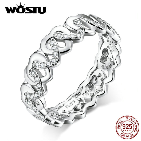 WOSTU Authentic 925 Sterling Silver Rings Clear CZ Love Buckles Love Hollow Rings For Women 2019 Lucky Jewelry Gift CQR626