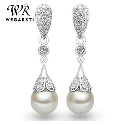 Silver 925 Jewelry Pearl Earrings Jewelry Natural Freshwater Pearl Drop Earrings women Silver Wedding Dangle Earring