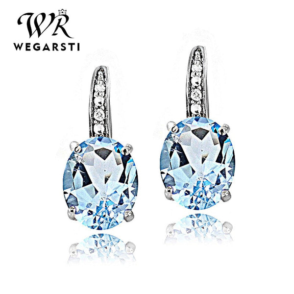 Silver 925 Jewelry Earrings Trendy Round Topaz Earring For Women Party Valentines 925 Sterling Silver Earring Gifts