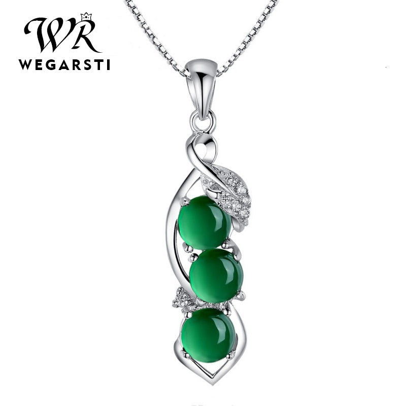 Silver 925 Jewelry Emerald Necklaces For Women Gemstone Luxury Women Necklaces 925 Sterling Silver Jewellery Wedding