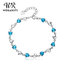 Silver 925 Jewelry Bracelets For Women Aquamarine 925 Sterling Silver Heart Charm Bracelets Party Anniversary Jewelry
