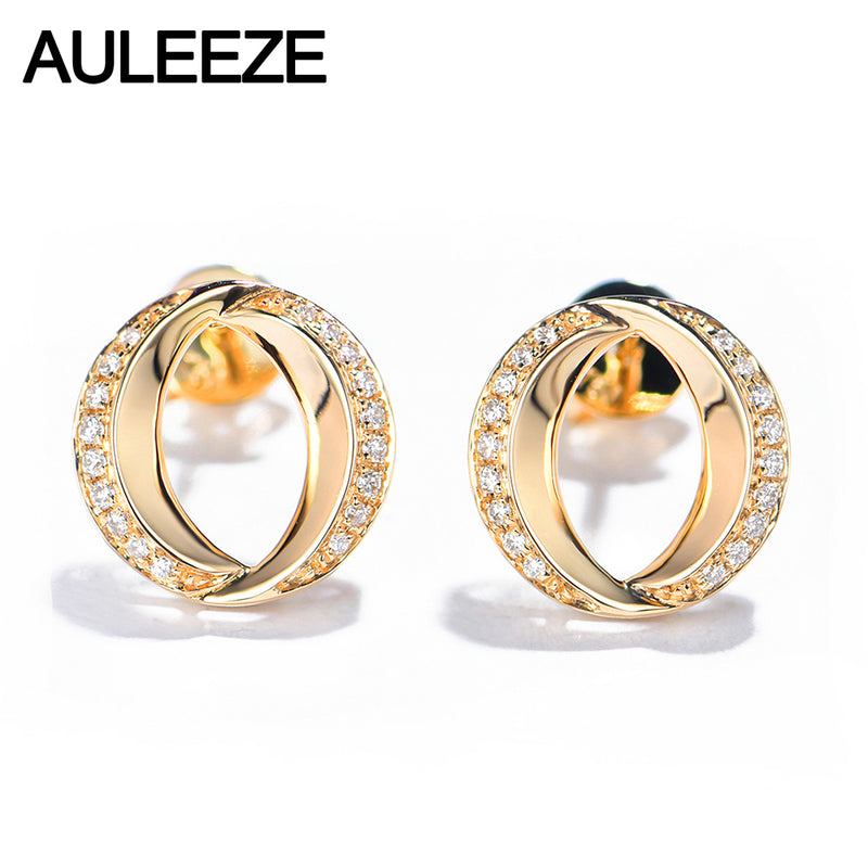 AULEEZE 18K Yellow Gold Diamond Earrings O-shaped Fashion Ladies AU750 Real Diamond Stud Earrings