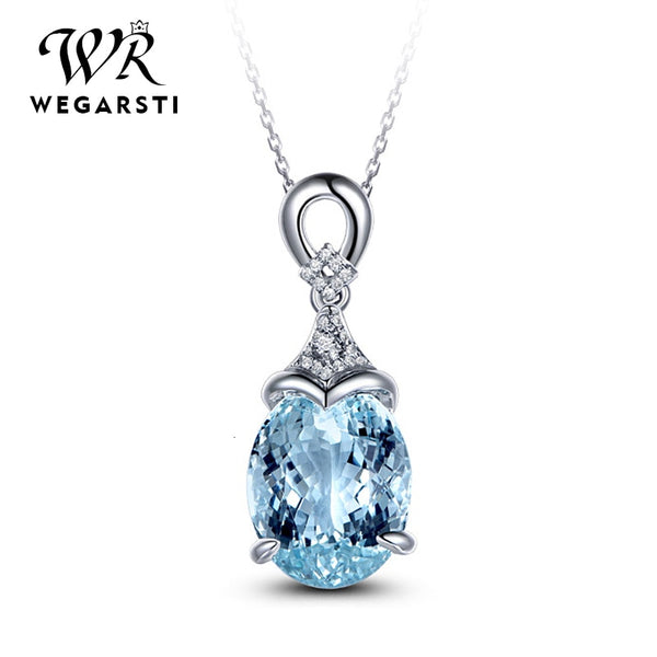 Silver 925 Jewelry Necklace Pendent Women Aquamarine 925 Sterling Silver Necklace Jewelry Woman Wedding Party Gift