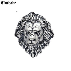 Huge 925 Sterling Silver King of Lion Ring Mens Biker Punk Ring Pure Silver Ring S925 Lion Open Ring
