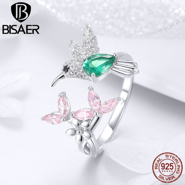 BISAER 925 Sterling Silver Bird Hummingbirds Greeting Finger Rings Clear CZ Flower Adjustable Rings for Women Wedding EFR016