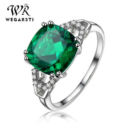 Silver 925 Jewelry Emerald Ring Silver 925 Women's Trendy Natural Gemstone Rings Party Engagement Ring Fine Jewelry