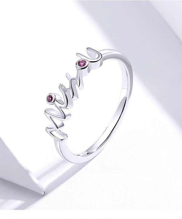 925 Sterling Silver Miss U Finger Ring Valentine's Day Gift for Girlfriend Anniversary Bijoux Fashion Bague SCR631
