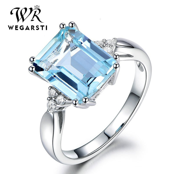 Silver 925 Jewelry Ring Aquamarine Gemstone Rings for Women Genuine 925 Sterling Silver Female Jewelry Ring