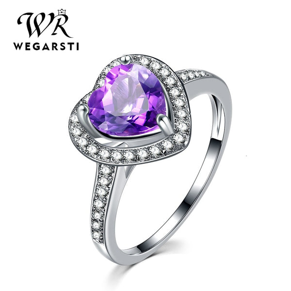Silver 925 Jewelry Ring Amethyst Silver 925 Women's Classic Heart Natural Gemstone Rings Engagement Ring Fine Jewelry