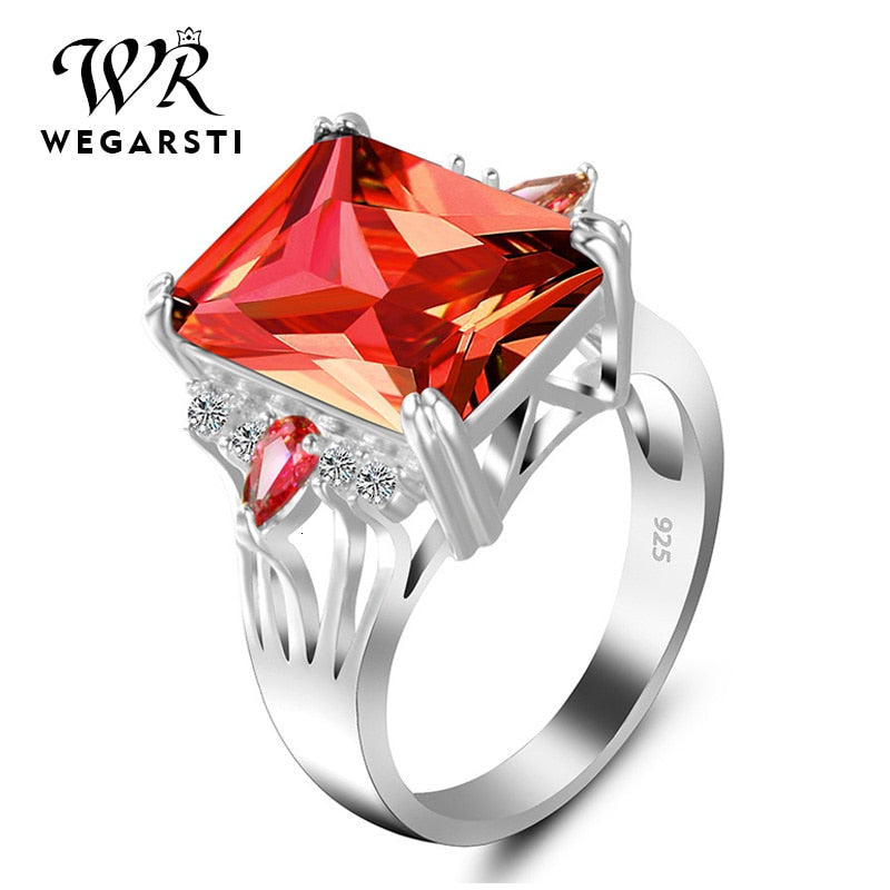Silver 925 Jewelry Ring Ruby Silver 925 Women's Trendy Natural Gemstone Rings Engagement Ring Fine Jewelry