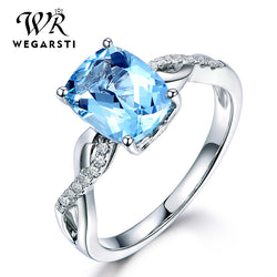 Silver 925 Jewelry Ring Aquamarine Trendy Party Classic 925 Sterling Silver Rings Jewelry Woman Engagement Gift