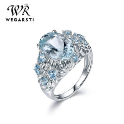 Silver 925 Jewelry Ring Aquamarine Trendy Party Round Classic 925 Sterling Silver Rings Jewelry Woman Engagement Gift