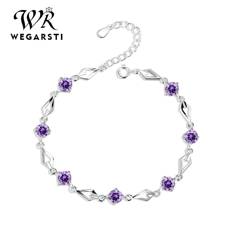 Silver 925 Jewelry Bracelets for Women Trendy Amethyst 925 Sterling Silver Bracelet Charm Women Wedding Bracelet Gift