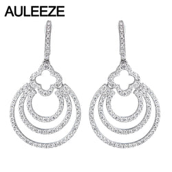 AULEEZE Real 14K White Gold Moissanite Diamond Drop Earrings 0.94ctw Moissanite Long Earrings Fashion Lady Party Wedding Jewelry
