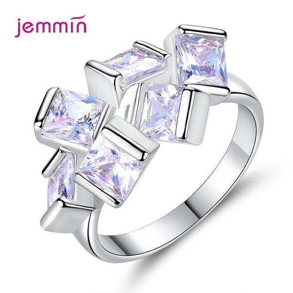 Fashion Shining CZ Zircon Ring Elegant 925 Sterling Silver Rhinestone Rings For Women Wedding Party Jewelry Gifts Size 6-9
