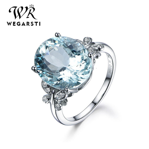 Silver 925 Jewelry Ring Aquamarine Trendy Party 925 Sterling Silver Rings Jewelry Woman Wedding Party Gift