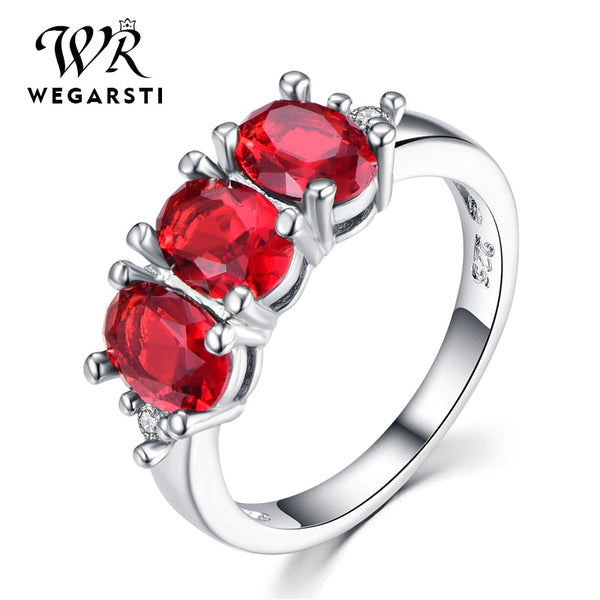 Silver 925 Jewelry Ruby Ring Silver 925 Women's Trendy Natural Red Gemstone Rings Party Wedding Ring Fine Jewelry