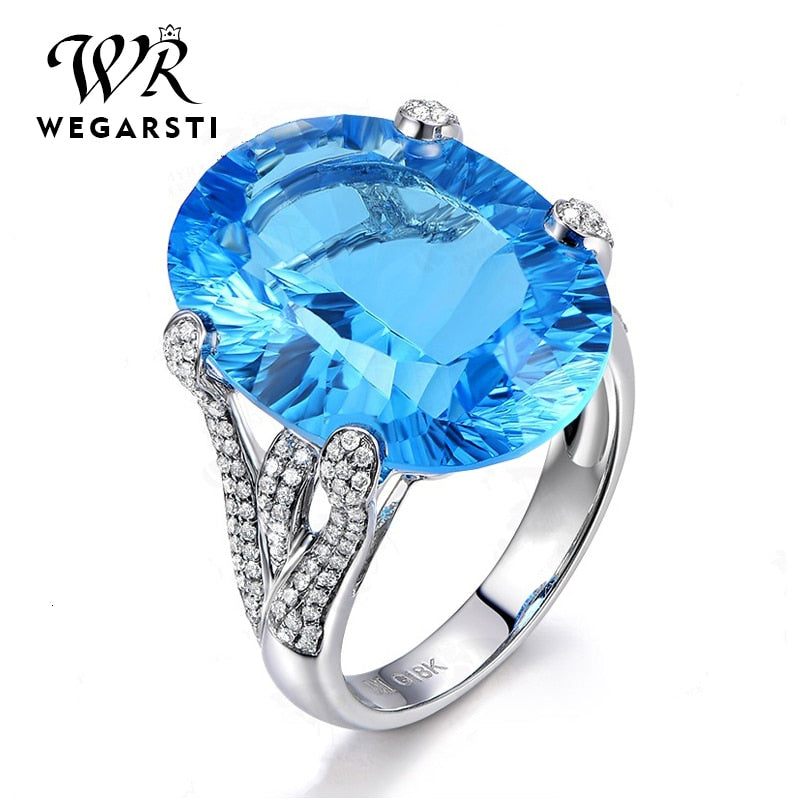 Silver 925 Jewelry Ring Trendy Sapphire Party Classic 925 Sterling Silver Rings Jewelry Woman Engagement Gift