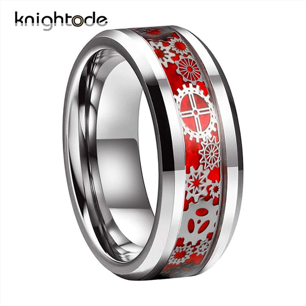 8/6mm Men Women Wedding Band Mechanical Gear Wheel Tungsten Ring Beveled Edges With Red Purple Black Blue Carbon Fiber Inlay