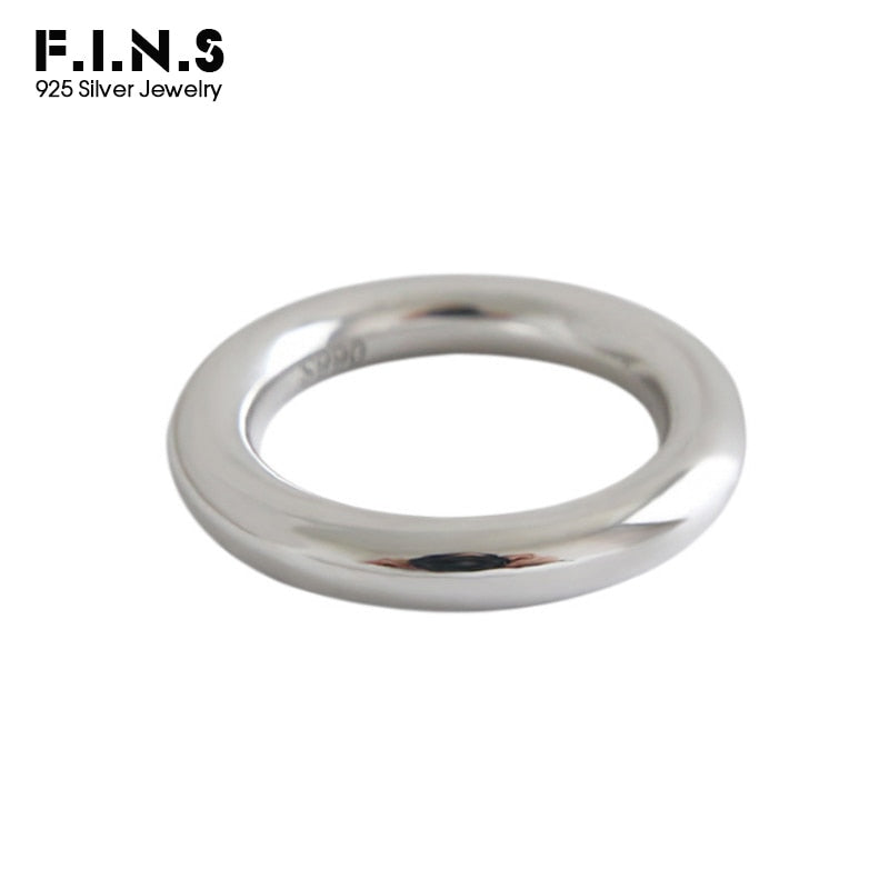 F.I.N.S Minimalist 990 Sterling Silver Smooth Rings Classic Engagement Finger Rings for Women Pure Silver Ring Fine Jewelry