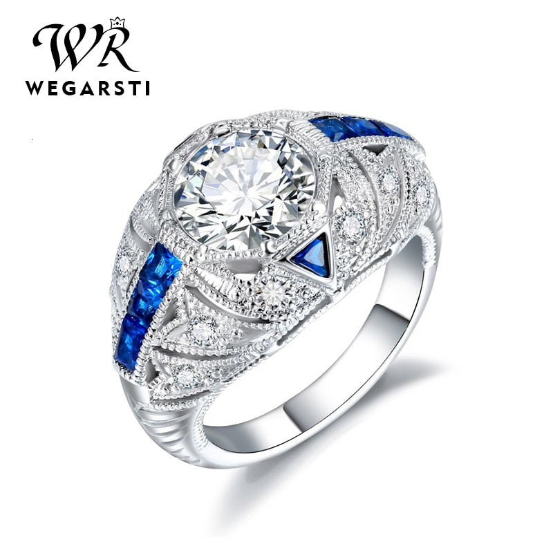 Silver 925 Jewelry Ring Sapphire Trendy Party Round Classic 925 Sterling Silver Rings Jewelry Woman Engagement Gift