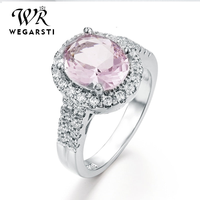 Silver 925 Jewelry Ring Zircon Pink Sapphire Trendy Party Classic 925 Sterling Silver Rings Jewelry Woman Engagement