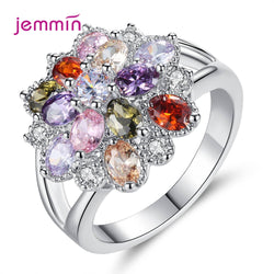 New 2020 Arrivals Fashion Ring Flower Finger Rings Clear CZ Women Wedding Brand Jewelry Gift AAA Cubic Zirconia Bijoux