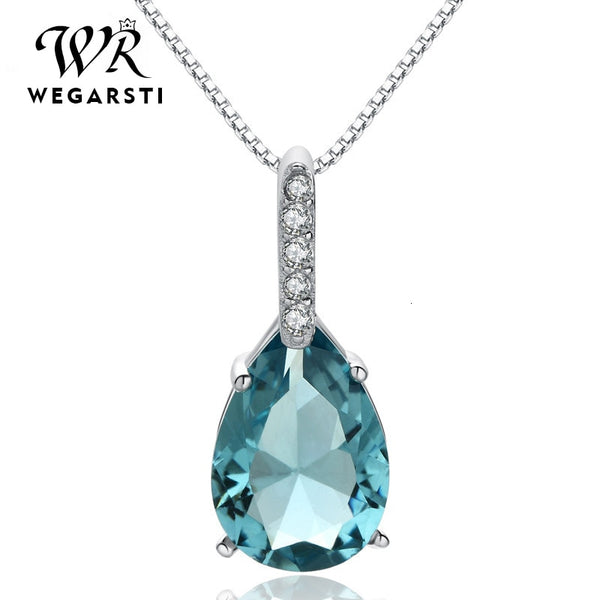 Silver 925 Jewelry Necklace Pendent for Women Aquamarine Water Drop 925 Sterling Silver Jewelry Woman Wedding Party