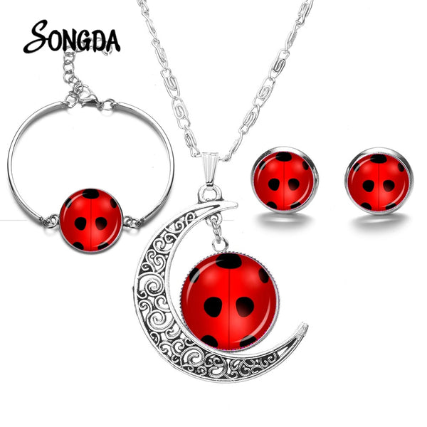 SONGDA Cute Lovely Ladybug Jewelry Sets Red Lady Bug Art Photo Glass Dome Crescent Necklace Bracelet Earring Set Children's Gift