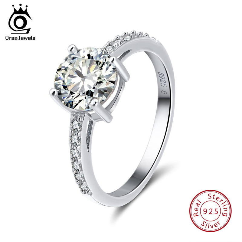 925 Sterling Silver Women Rings AAA Shiny Cubic Zircon Prong Setting Female Luxury Wedding Ring Jewelry SR56
