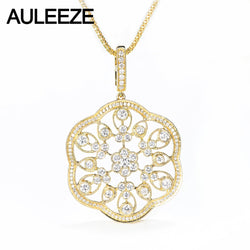 AULEEZE Luxury Moissanite Diamond Pendants Real 14K Yellow Gold Vintage Lace Long Sweater Chain For Women Fine Jewelry