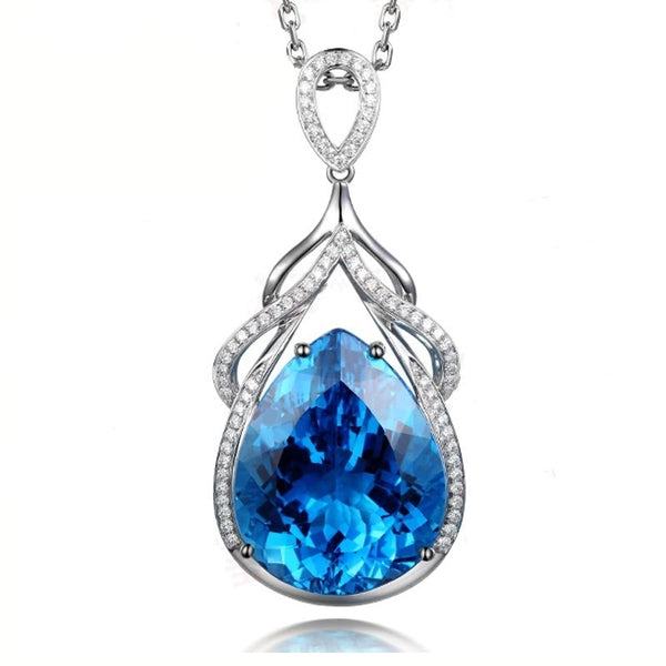 925 Sterling Silver Blue Topaz Pendant Necklace for Women Luxury Gemstone Party Necklaces Fine Jewelry For gift