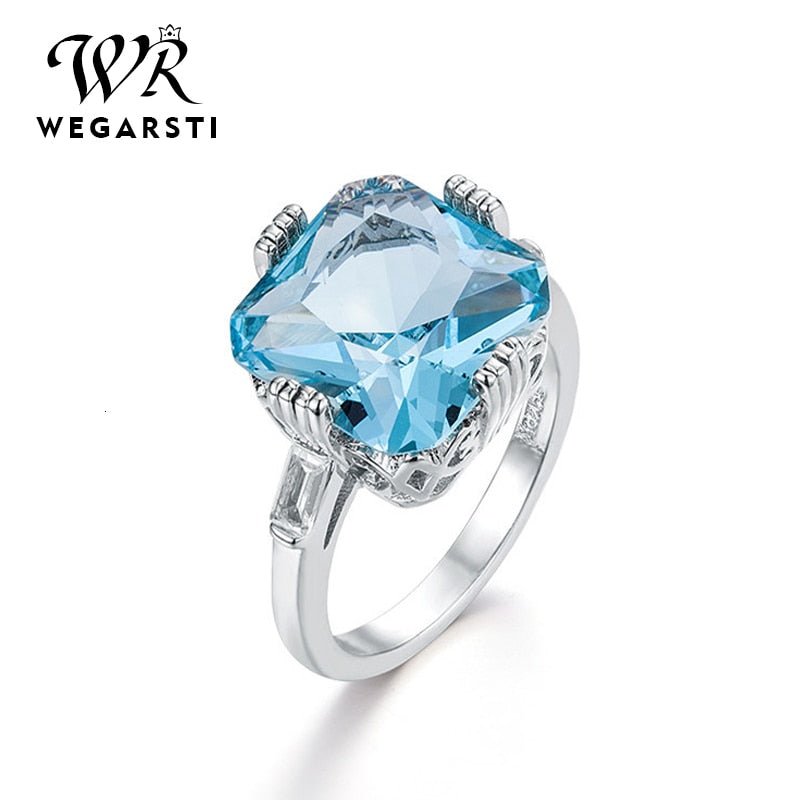 Silver 925 Jewelry Ring Aquamarine Topaz Party Classic 925 Sterling Silver Rings Jewelry Woman Wedding Party Gift