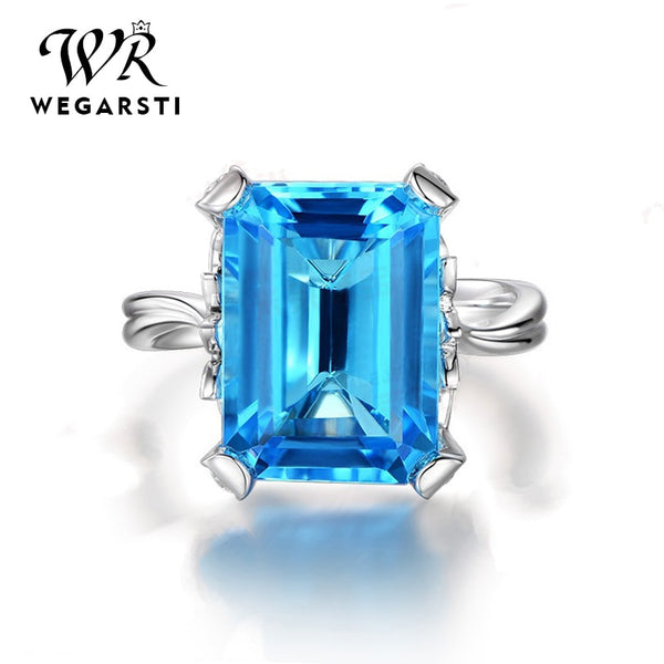 Silver 925 Jewelry Ring Aquamarine Sapphire Party Classic 925 Sterling Silver Rings Jewelry Woman Wedding Gift