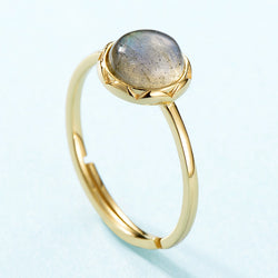 925 Sterling Silver Ring For Women 100% Natural Labradorite Gemstone 1.3ct Real Gold Wedding Engagement Fine Jewelry
