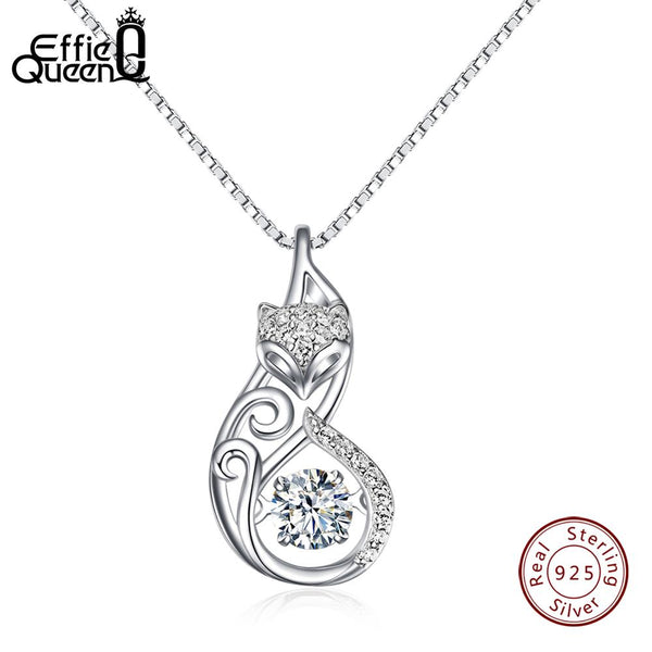 Effie Queen Crystal Women S925 Sterling Silver Necklaces Cute Fox Pendant Necklace for Women Lady Girl Jewelry Best Gift BN53