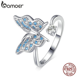 925 Sterling Silver Flying Butterfly Open Adjustable Finger Rings for Women Blue CZ Engagement Statement Jewelry BSR098