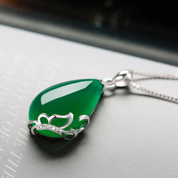 925 Sterling Silver Natural  Emerald Gemstone Wedding Engagement Cocktaill Necklace Jewelry Wholesale