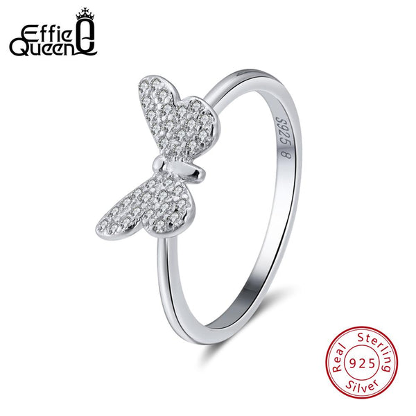 Effie Queen Elegant female Wedding Ring Real 925 Sterling Silver Rings Butterfly Shape With AAA Zircon Jewelry Gift BR59