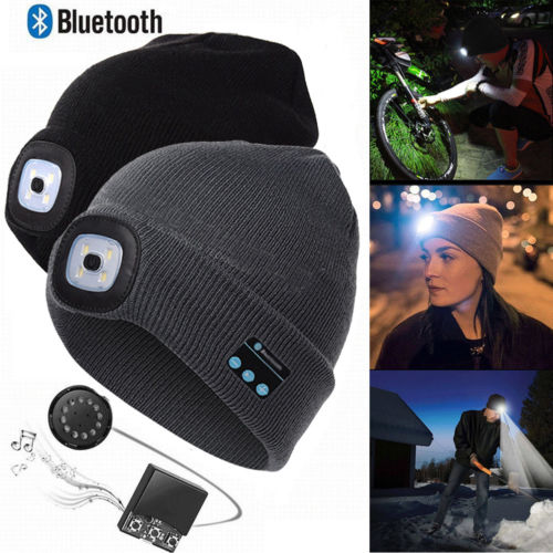Fashion Warm Beanie Bluetooth LED Hat Wireless Smart Cap Headset Headphone Speaker
