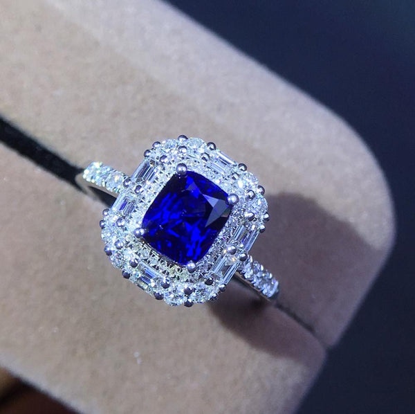 Sapphire Rings J1207 Pure 18 K Natural Royal Blue Sapphire Gemstones 1.53ct Diamonds Gems Female Ring