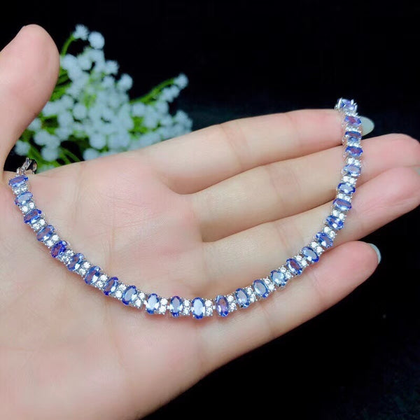 Natural tanzanite bracelet, classic style, 925 silver, simple to wear, beautiful effect, luxurious style